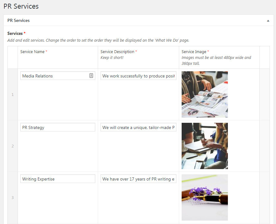 Screenshot of PR Services admin area created with ACF Pro.