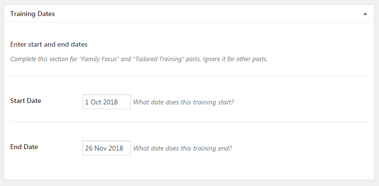 Course dates using CMB2