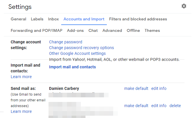 Gmail - Settings - Accounts and Import