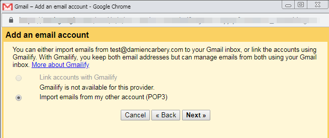 Choose to import emails via POP3