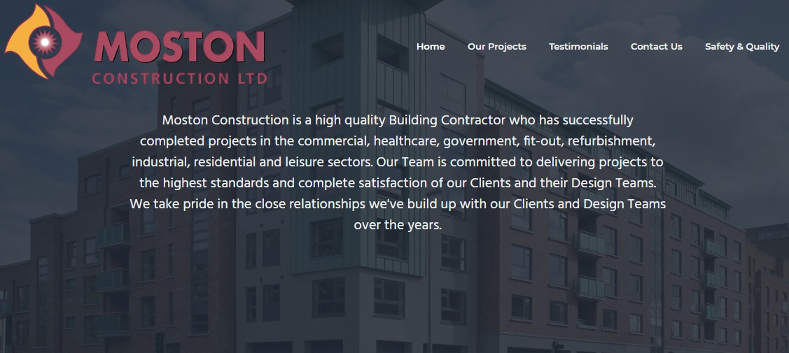 Moston Construction home page
