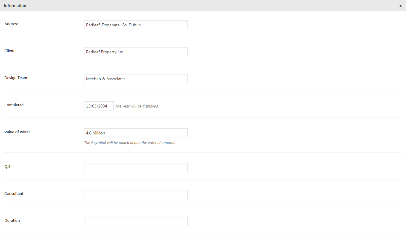 Moston portfolio item information