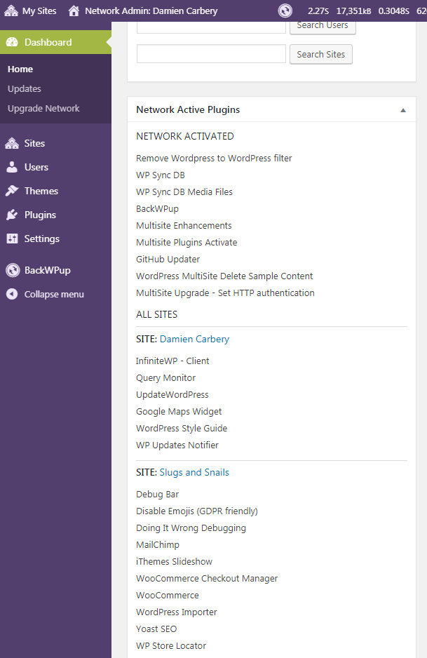 Screenshot of Dashboard widget listing active plugins for each sub-site.
