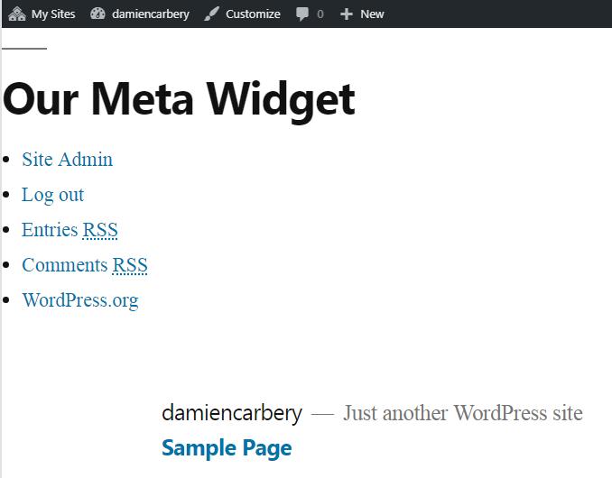 Meta widget at top of page.