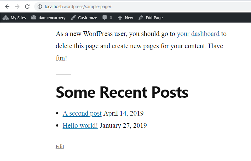 Recent Posts widget appended to content.