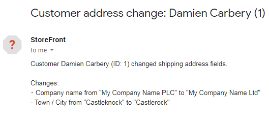 Email sent to site admin listing customer address changes.