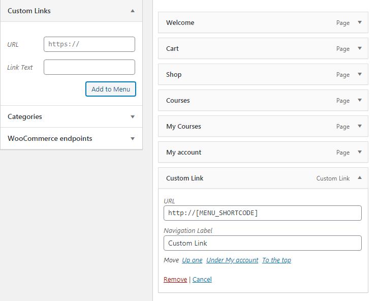 Menu editor with shortcode as menu item url.