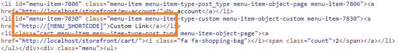 Custom link with the unexpanded shortcode as the url.