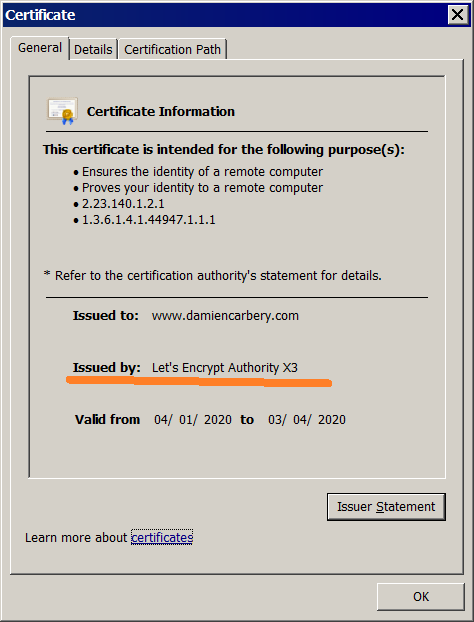 Let's Encrypt SSL certificate information for www.damiencarbery.com