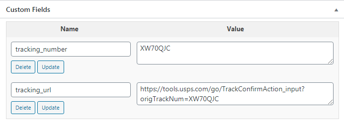 WooCommerce Order custom fields with tracking number and url.