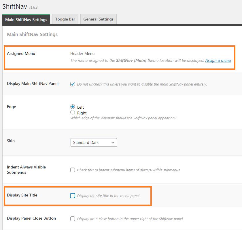 ShiftNav main settings.