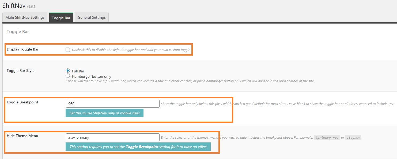 ShiftNav Toggle Bar settings.