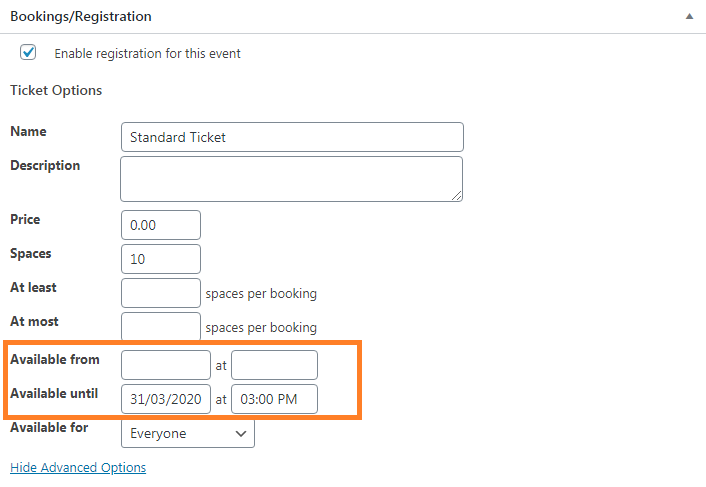 Screenshot of event booking section in Dashboard.