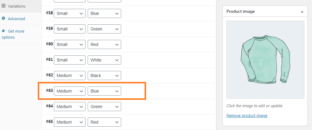 Screenshot highlighting the variation ID for the Medium, Blue variation of the Long Sleeve Tee product.