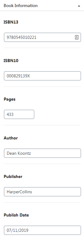 Screenshot of CMB2 metabox to enter book information.