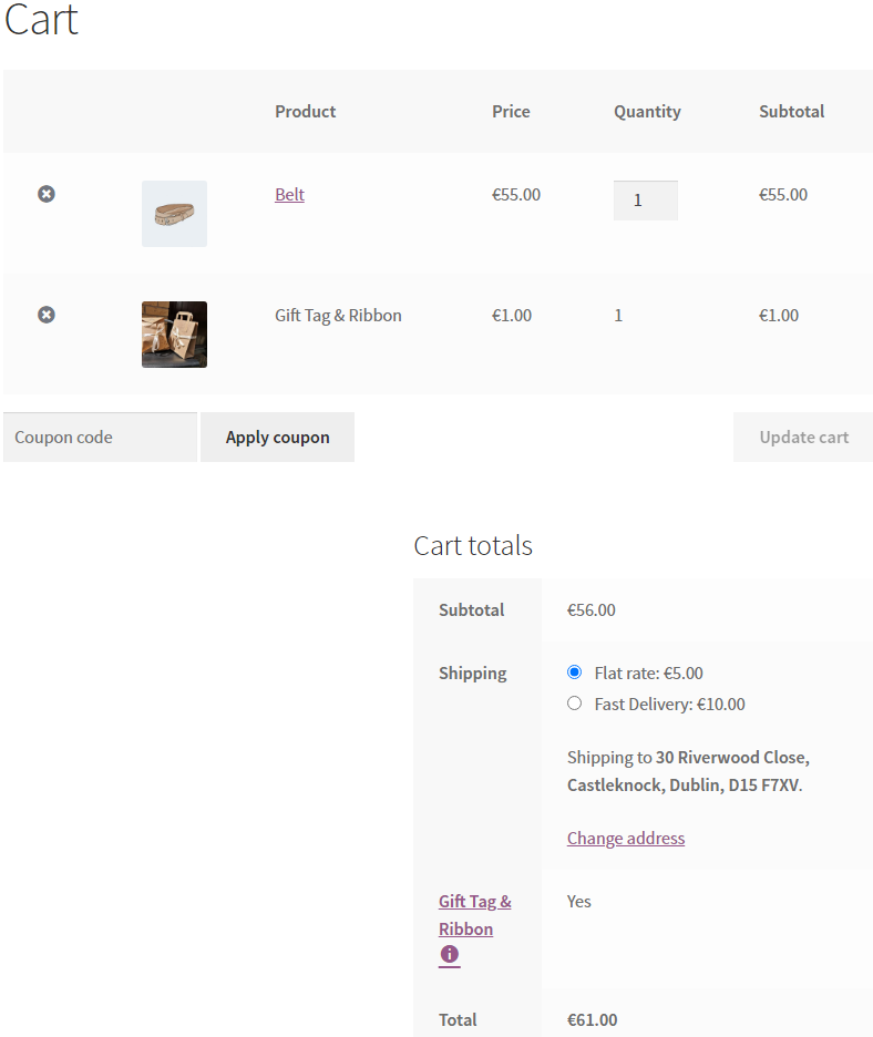 Screenshot of cart page after gift tag added to cart.