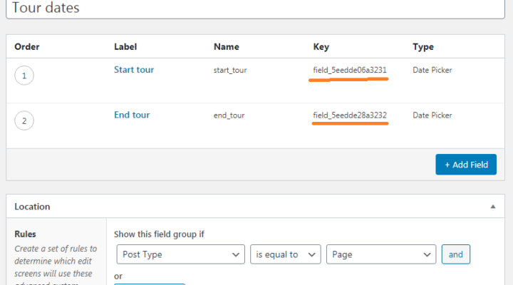 Screenshot showing ACF Field Group field keys