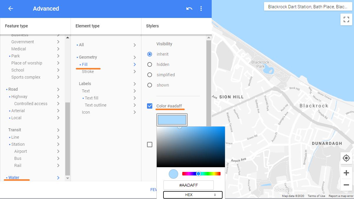 Screenshot showing how to set the colour of water in Google Maps.