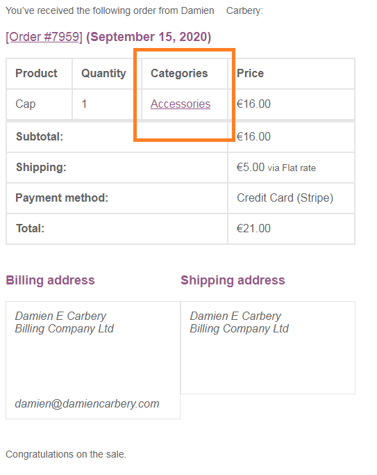 Screenshot of WooCommerce New Order email with extra column for product's categories.