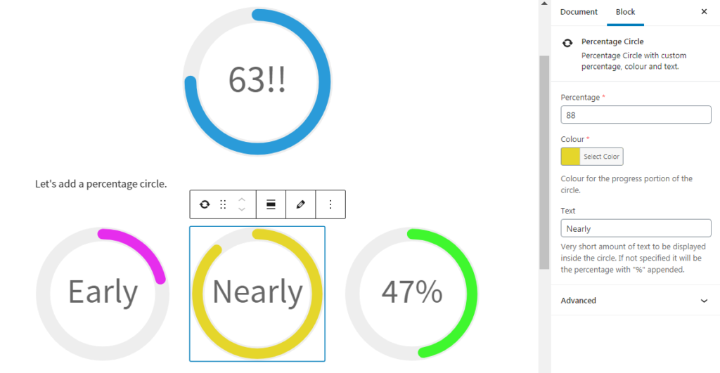 Editor view of the percentage circle block, with fields for Percentage, Colour and Text.