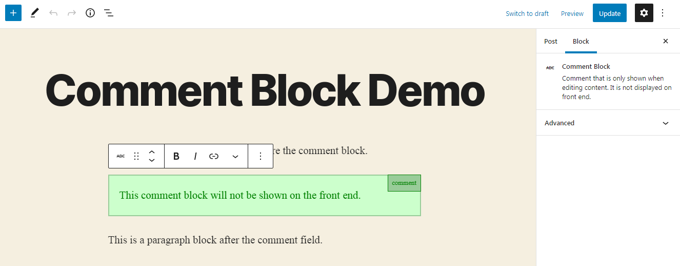 Screenshot of Comment Block in the editor.