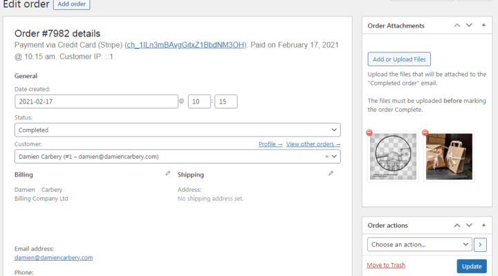 Attach files to WooCommerce order email