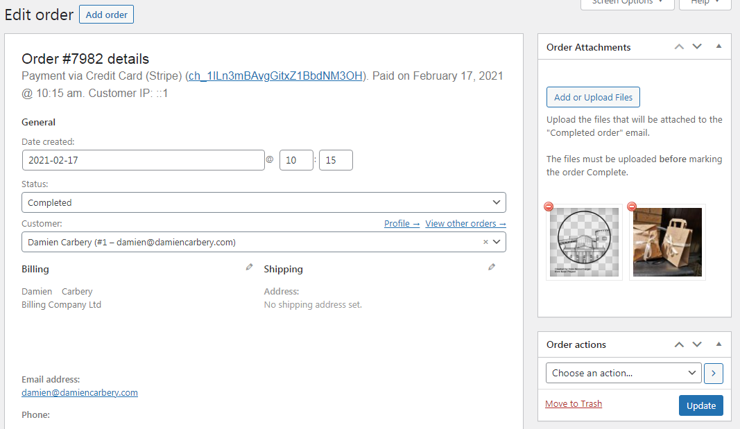 Screenshot of 'Order Attachments' meta box to upload files that will be attached to the 'Completed order' email.