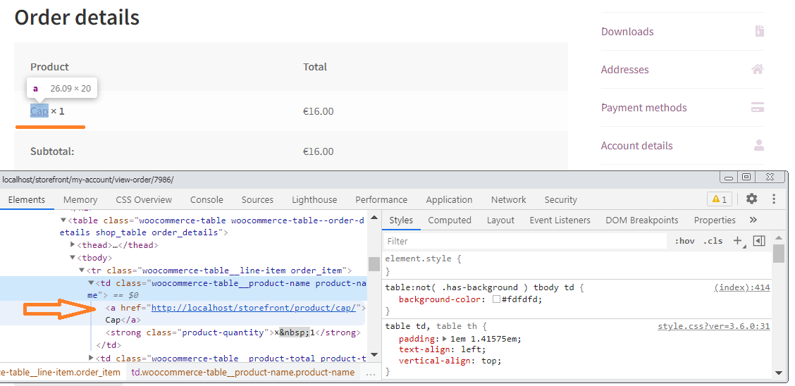 Screenshot of product link in Order table.