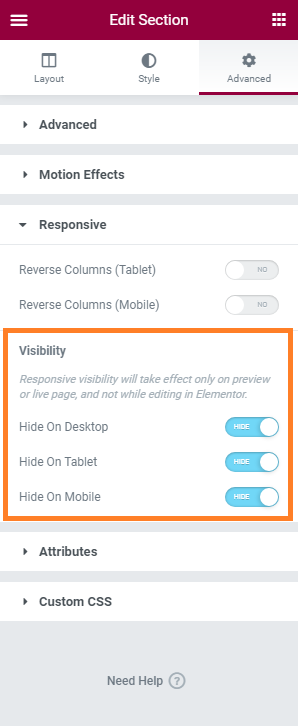 Screenshot of Elementor's Responsive Visibility settings used to hide an element.