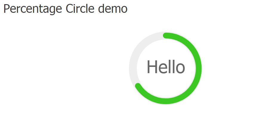 Screenshot of the Percentage Circle on the frontend.